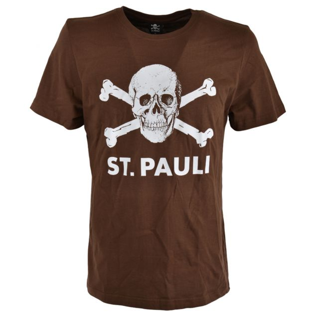 fc st pauli t shirt totenkopf braun sport m nzinger. Black Bedroom Furniture Sets. Home Design Ideas