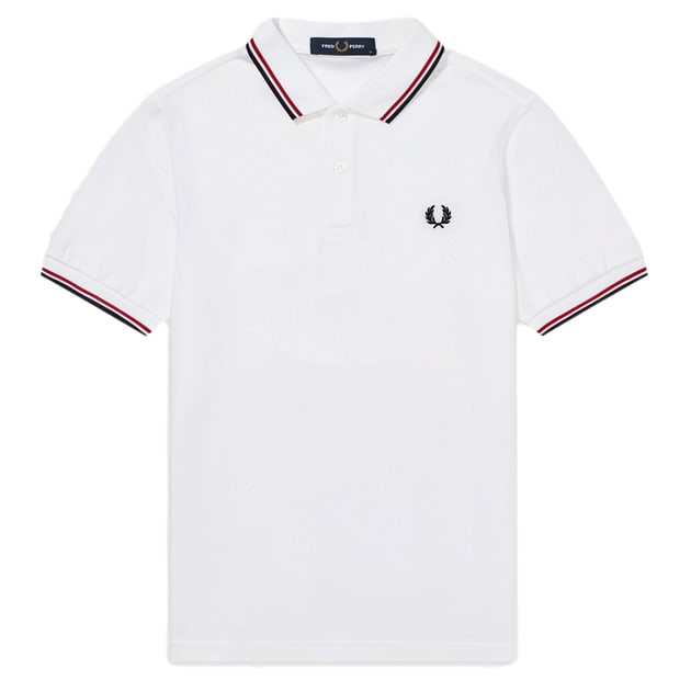 Fred Perry Slim Fit Twin Tipped Shirt Weiß
