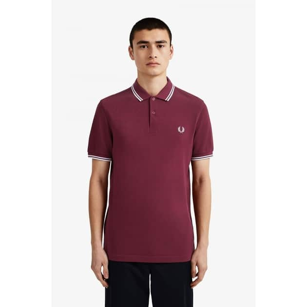 Fred Perry Slim Fit Twin Tipped Shirt Dunkelrot