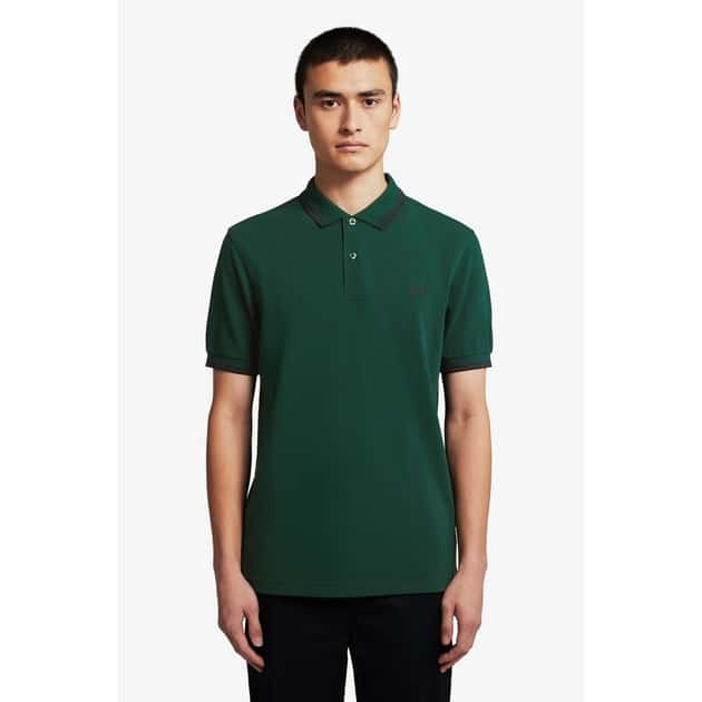 Fred Perry Slim Fit Twin Tipped Shirt Oliv