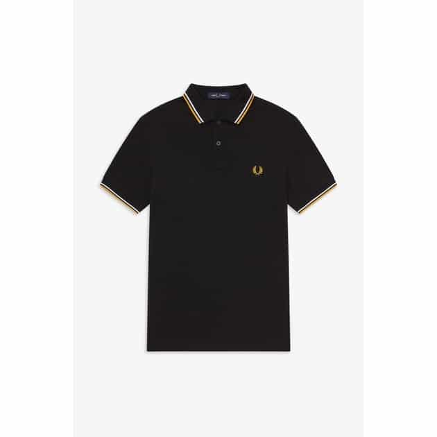 Fred Perry Slim Fit Twin Tipped Shirt Schwarz