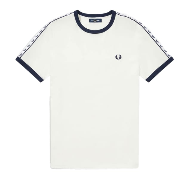 Fred Perry Taped Ringer T-Shirt Weiß