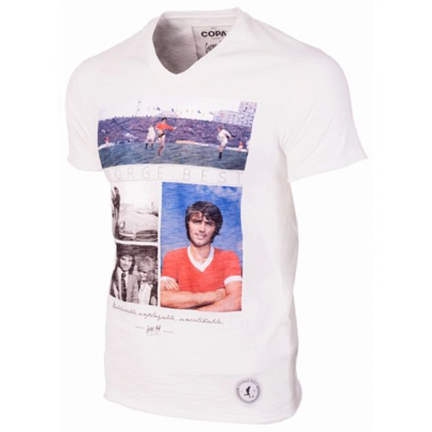 Copa George Best Unbelievable V-Neck T-Shirt Weiß