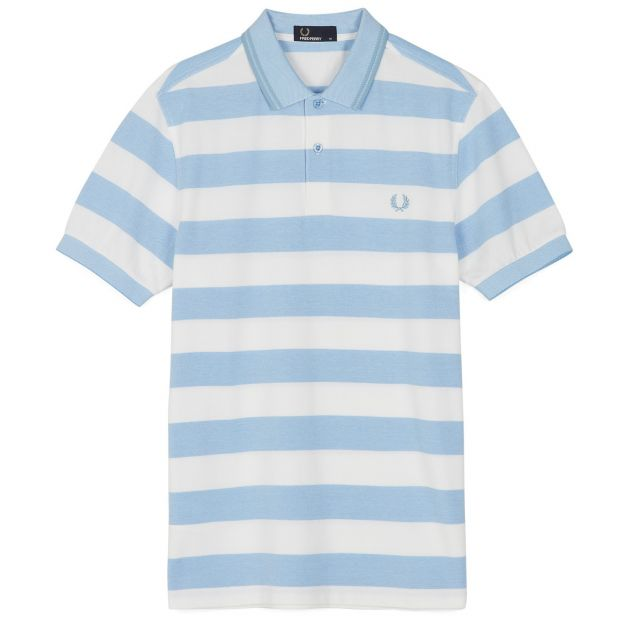 Fred Perry Striped Pique Shirt Hellgrau