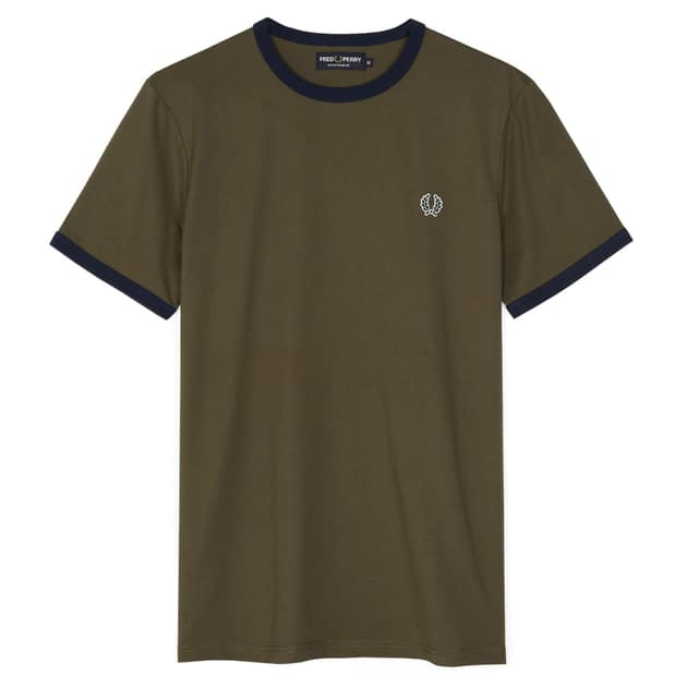 Fred Perry Ringer T-Shirt Oliv