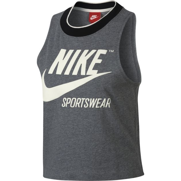 Nike W NSW TANK CROP GX RIB ARCHIVE Anthrazit