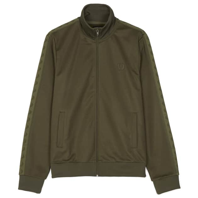 Fred Perry Tonal Taped Track Jacket Oliv