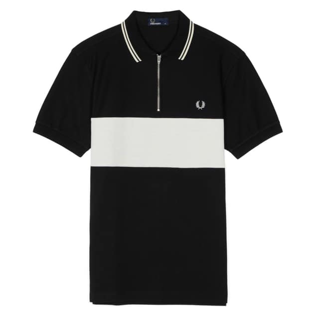 Fred Perry Panelled Zip Neck Pique Shirt bei Sport Schuster München