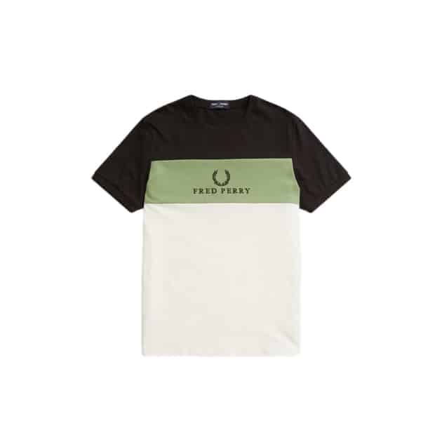 Fred Perry Embroidered Panel T-Shirt Schwarz