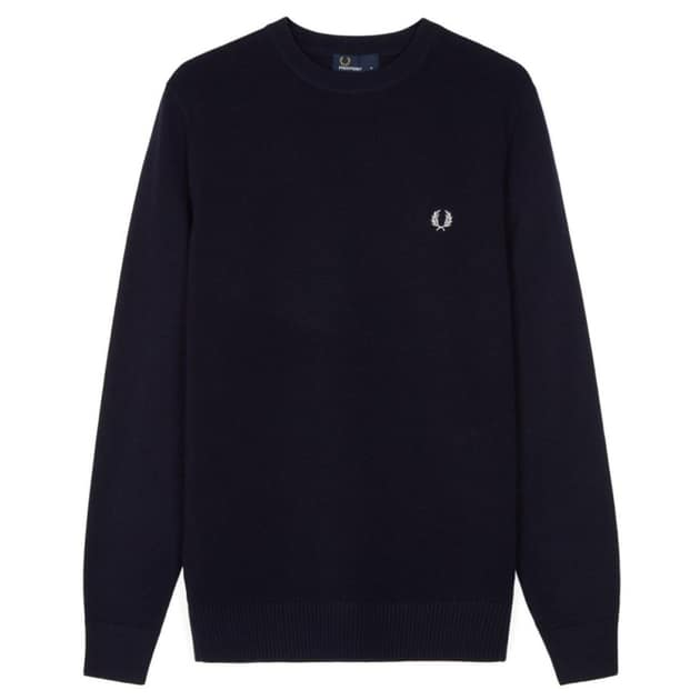 Fred Perry Pique Texture Crew Neck Jumper Dunkelblau