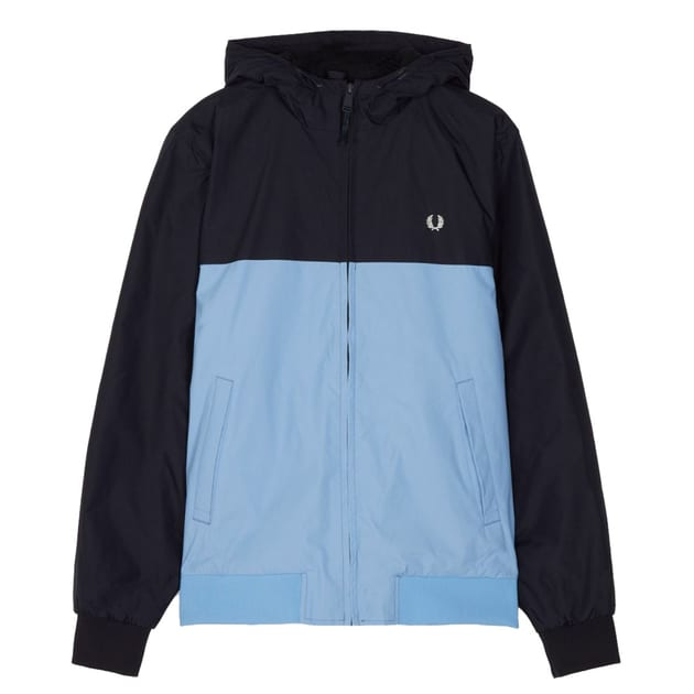 Fred Perry Hooded Panelled Qilted Jacket Dunkelblau