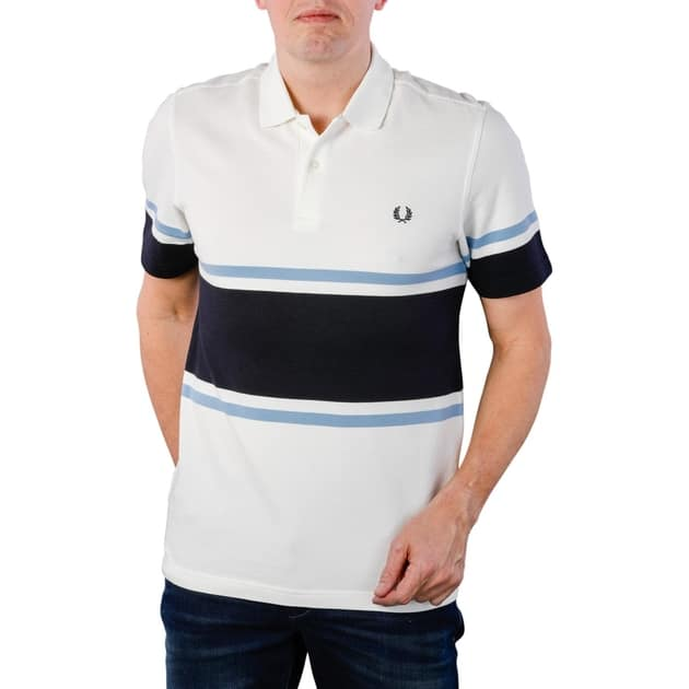 Fred Perry Bold Fine Stripe Pique Shirt Weiß