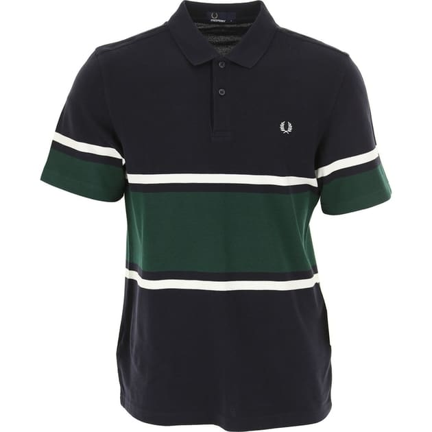 Fred Perry Bold Fine Stripe Pique Shirt Dunkelblau