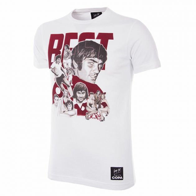 Copa George Best Collage T-Shirt Weiß