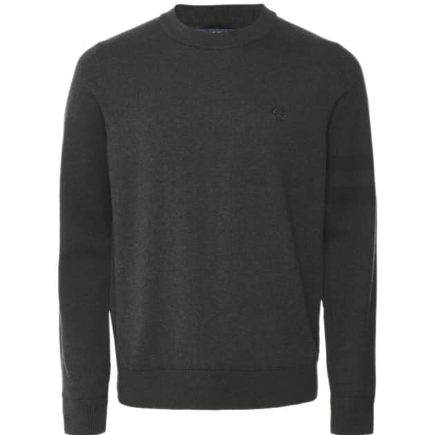 Fred Perry Tipped Sleeve Crew Neck Oliv