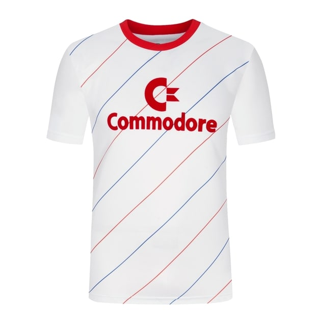 Score Draw Bayern Retro 1984 Away Trikot Commodore Weiß