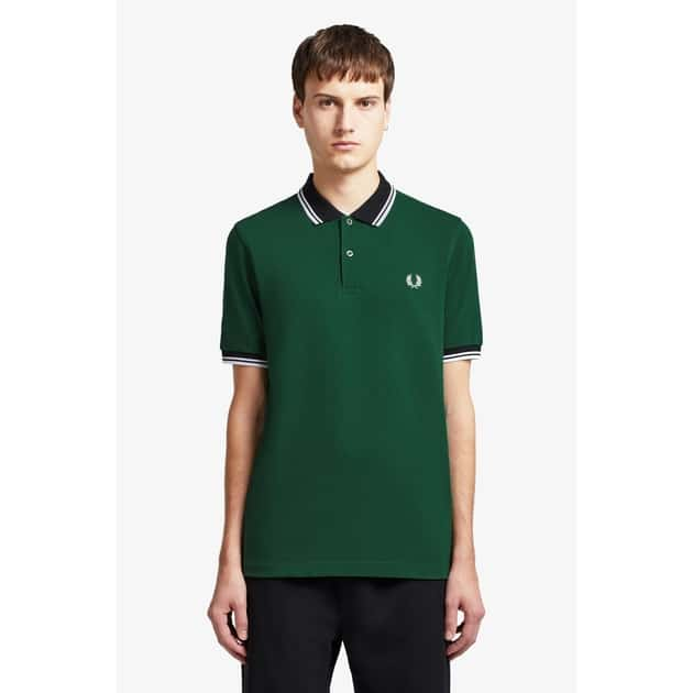 Fred Perry Vertical Panel Polo Shirt Grün