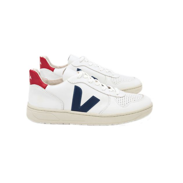 Veja V-10 LEATHER EXTRA-WHITE NAUTICO Weiß